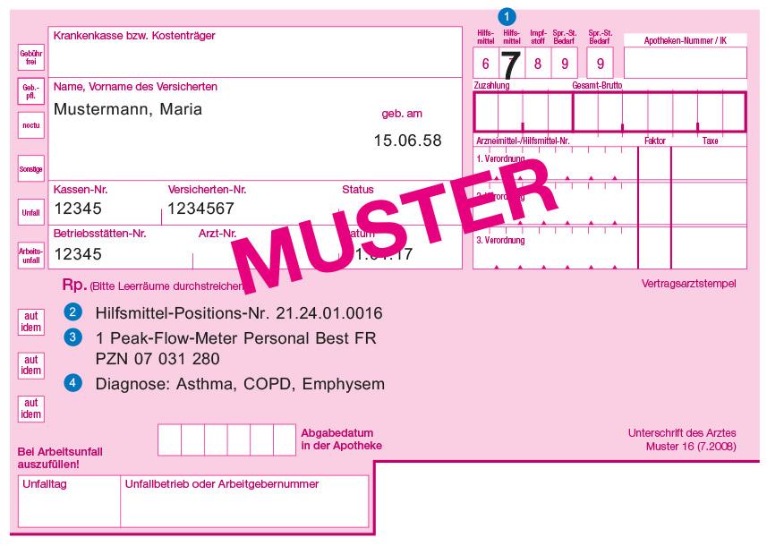Peak-Flow-Meter Personal Best® FR Rezept